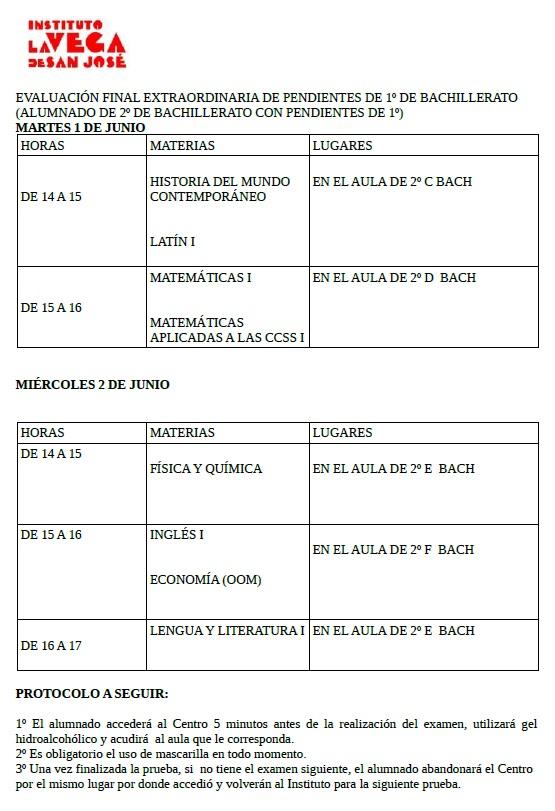 CALENDARIO EVALUACIÓN FINAL EXTRAORDINARIA DE PENDIENTES DE 1º DE BACHILLERATO-JUNIO 2021